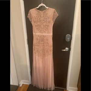 Adrianna Papell Beaded Blush Pink Gown